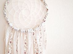 Large Dream Catcher - White Flowers - With Unique Floral Textiles and Laces - Boho Home Decor, Nursery Mobile #dream #catcher #white #ivory #lace #bobo #nest #chick #shabby