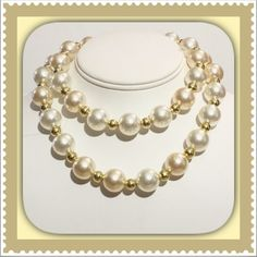 "30"" Large Pearl & Gold Bead Necklace Offer $3 under list price so we can split the cost of shipping! Beautiful costume jewelry with large iridescent off-white/cream faux pearl beads, gold color beads between each faux pearl, and spring ring clasp. Length is 30"". Can be worn long or doubled as seen in pic. Clasp is somewhat tarnished but 100% functional. Bundle with matching earrings for $18! Just ask for a custom bundle. Great pre-loved condition! ⭐️⭐️⭐️⭐️ ✅ASK QUESTIONS ✅Bundle ✅Offers ❌NO…"