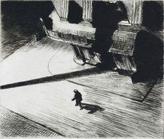 Edward Hopper - Ombres, la nuit - 1921, eau-forte, NY #FredericClad