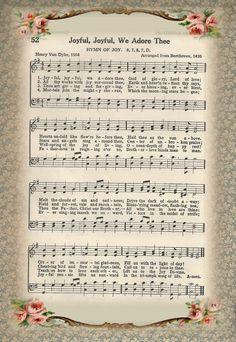 Free Printable Sheet Music of Hymn ~ Joyful Joyful We Adore Thee Hymns Of Praise, Praise Songs, Worship Songs, Praise And Worship, Gospel Song Lyrics, Christian Song Lyrics, Gospel Music, Free Printable Sheet Music, Church Songs