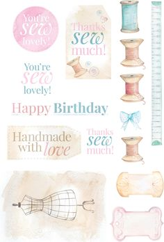 Vintage Sewing printable - birthday printable that'd be great to add to our stitched cards ;)