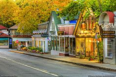 Bar Harbor, Maine is a popular resort village on Mount Desert Island. This shows Mt. Desert Street intersecting with Main Street.