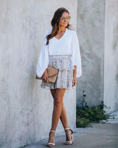 Bleuet Chiffon Floral Tiered Mini Skirt – VICI Ruffle Skirt, Ruffles, Sequin Skirt, Short Skirts, Mini Skirts, Wrap Blouse, Floral Chiffon, White Dress, Model