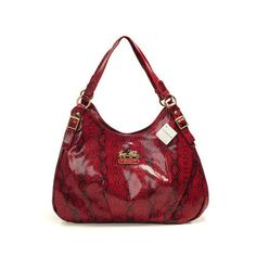 """Coach Embossed Medium Red Hobo DYE [Coach0A1158] - Coach Embossed Medium Red Hobo DYE Product Details Soft, intricately embossed leather updates the smaller version of the popular Coach bags with a striking play of light and shadow. It's perfect for weekends and travel. -Size:13 4/5"""" x 4 4/5"""" x 9 4/5""""-Embossed leather-Fabric lining-Logo plate in front-Top"""