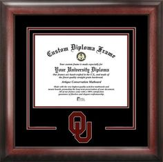 "College elegant diploma frame. Premium frame with Oklahoma Sooners logo or mascot cut into matting. Frame is mahogany wood with the same finish. Frames are custom made to fit diploma size (frame is typically 14' x 20"" finished).Please Contact Us With Your Diploma Dimensions Upon Purchase Of This Item- Your Order Will Not Be Processed Until Dimensions Are Received.  **Please Note This Item Cannot Be Returned As All Orders Are Custom Made.**"