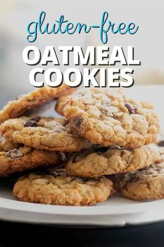 This simple recipe for thick and chewy gluten free oatmeal cookies is crispy around the edges, soft and chewy the rest of the way through. In other words, perfect. Best Gluten Free Desserts, Gluten Free Cookie Recipes, Gluten Free Recipes For Breakfast, Gluten Free Treats, Gluten Free Breakfasts, Foods With Gluten, Gluten Free Cookies, Gluten Free Baking, Brownie Recipes