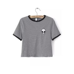 SheIn(sheinside) Black White Crew Neck Striped Alien Print Crop... (€8,69) ❤ liked on Polyvore featuring tops, t-shirts, shirts, crop tops, cropped, multi, print t shirts, black and white t shirt, t shirts and crop t shirt