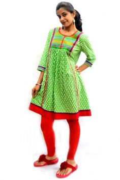 """""""#Booti Print #Kurti""""  Traditional booti print kurti in 100% cotton fabric with embroidery at neck yoke part. Above knee length and 3/4 sleeves makes is casual wear. Note : Leggin is not included in price.-Price: 495"""
