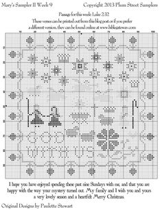 SMS II Wk 9 PRINTOUT- final chart for Mary's Sampler!  It's beautiful!  Thank you so much Plum Street Samplers!