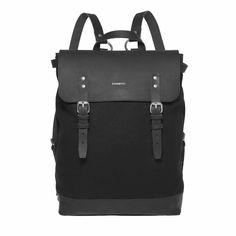 Sandqvist Hege - Black Travel Backpack, Black Backpack, Canvas Backpack,  Stylish Backpacks, 97e76a7c9b