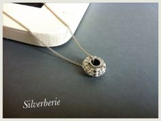 Silver necklace with Swarovski becharmed bead bride by Bleuberie, $30.00