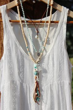 Long Bone Bead Tassel Necklace, Creamy White Tribal Bone Beads, Leather Tassel, Carved Turquoise Bead, Peru Opal, Long Layer, Boho Chic - $89