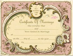 """Here is a different version of the Vintage French Frame Marriage Certificate. This post is for a wedding officiant that had a special request for the """"In Holy Matrimony"""" text to be removed from the. Certificate Images, Wedding Certificate, Marriage Certificate, Certificate Templates, Free Printable Clip Art, Templates Printable Free, Free Printables, Free Downloads, Family Tree Frame"""
