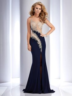 Elegant Navy Blue Formal Evening Dresses Long 2017 Sexy Sheer Prom Dress Split Side Luxury Beaded Top Illusion Back Pageant Gown Evening Dress Long, Formal Evening Dresses, Evening Gowns, Evening Party, Mermaid Evening Gown, Dresses Elegant, Pretty Dresses, Beautiful Dresses, Prom Dresses Blue