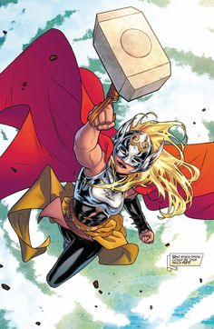 Jane Foster is The Mighty Thor. Not She-Thor or Female Thor! In anticipation of her debut in the MCU, we bring you 20 amazing and cool facts about her. Lady Thor, Thor 1, New Thor, Thor Girl, Marvel Dc Comics, Marvel Art, Marvel Heroes, Superhero Characters, Comic Book Characters