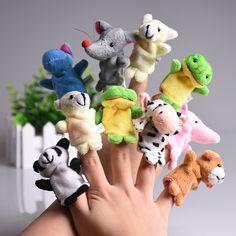 5 sztuk/zestaw Cute Animal Finger Lalek Pluszowe Zabawki Cartoon Biologiczna Favor Dziecka Dziecko Lalka Prezenty Rodzina Finger Zabawki Edukacyjne Dla Dzieci