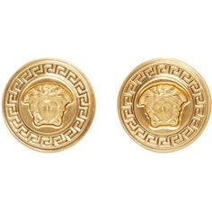 Versace Gold Medusa Medallion Earrings ($295) ❤ liked on Polyvore featuring jewelry, earrings, accessories, joias, gold, gold earrings, gold jewelry, versace earrings, colored gold jewelry and yellow gold earrings