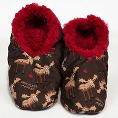 Lazy One Chocolate Moose Fuzzy Feet Slippers 6c277d78e