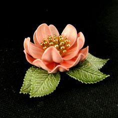 Vintage Enamel Flower Brooch 1960s Pink Dogwood by Krzy4btns