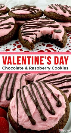 Valentine's Day Chocolate & Raspberry Cookies - sweet, chocolatey and covered with our deliciously creamy Raspberry Buttercream Frosting these yummy frosted cookies are easy to make and a perfect Valentine's Day dessert for your special Valentine. Pin this yummy Valentine's Day Treat for later and and follow us for more great Valentine's Day Food Ideas. #ValentinesDay #ValentinesDayTreats #ValentinesDayDesserts #Cookies #Raspberries