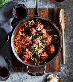 """Zucchini """"Spaghetti"""" with Meatballs   For a healthy take on the classic, the """"pasta"""" is made of zucchini using a spiralizer and the meatballs are made with ground turkey. Use a light hand when forming the meatballs so that they remain tender"""