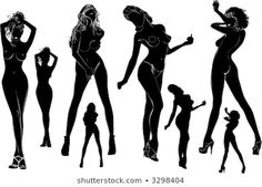 Black Silhouette, Silhouette Drawings, Woman Silhouette, Pencil Painting, Body Reference, Nose Art, Sexy Poses, Pole Dancing, Character Design Inspiration