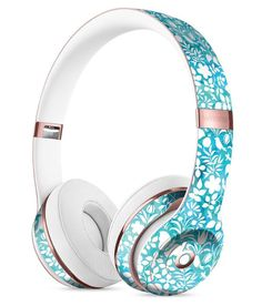 White Butterflies and Flowers on Blue Watercolor Pattern Full-Body Skin Kit for the Beats by Dre Solo 3 Wireless Headphones