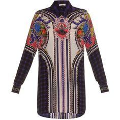 Mary Katrantzou Abstract-print silk shirtdress (£840) ❤ liked on Polyvore featuring dresses, blue print, plaid shirt dress, blue silk dress, blue checkered dress, paisley print dress and loose dress