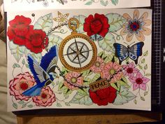 Tattoo design painted by Louise dyer, louspaperlace