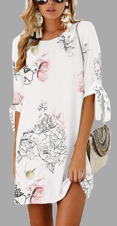 $24.82 Only!Shop Now! Pink Random Floral Print Self-tie at Sleeves Mini Dress#Mollyca#dress#fashion#summer
