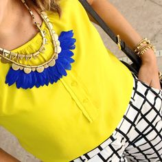 Today's colorful #ootd up on the #blog! Details at link in profile or text JEF to 33733 to read via email. #budgetfashion #fashionblogger #sdstyle #stelladot #boldstyle #windowpane #gridprint #canaryyellow #cobalt