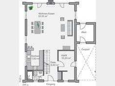 grundriss kg modernes bauhaus mit doppelgarage und. Black Bedroom Furniture Sets. Home Design Ideas