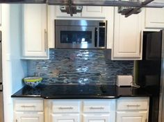 """Glass/Metal Mix Backsplash    """"The tile turned out awesome. The pictures don't do justice. Thank you!!"""" - Alicia G."""