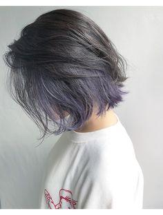 Short Grunge Hair, Short Dyed Hair, Asian Short Hair, Hidden Hair Color, Cool Hair Color, Hair Color Streaks, Hair Dye Colors, Shot Hair Styles, Curly Hair Styles