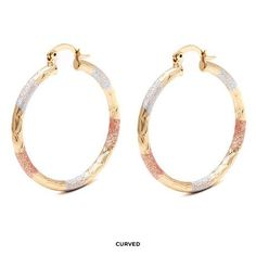 Peermont Gold-Plated Tricolor Hoops - Assorted Styles at Savings off Retail! Jewelry Chest, Popular Pins, Jewerly, Shells, 18th, Fine Jewelry, Hoop Earrings, My Style, Bracelets