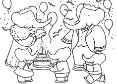 Pictures Babar Happy Birthday Coloring Pages