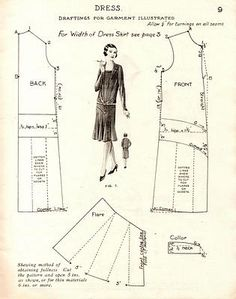 New Vintage Pattern Drafting Ideas 1920s Dress Pattern, Vintage Dress Patterns, Clothing Patterns, Dress Vintage, Vintage Coat, Couture Vintage, Vintage Fashion, Diy Couture Mode, Patron Vintage