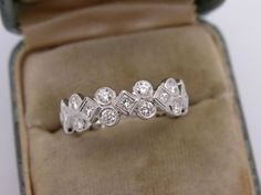 Estate Art Deco 0 54 Ct Diamond Eternity Wedding Band Ring Etruscan 18K Gold | eBay