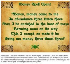 Money Spell Chant | Spell book | Money spells, Wiccan chants
