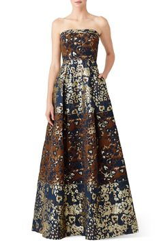 Rent Bronze Jacquard Gown by Aidan Mattox for $60 - $80 only at Rent the Runway.