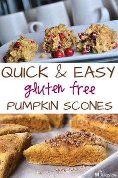 This quick and easy gluten free pumpkin scones recipes is delicious as scones or in traditional triangles. You can decided to go with or without the cranberries and pecans, too! #glutenfree #pumpkinscones #cranberryscones #scones #pecans #breakfastscones #pumpkinsconewithcranberries #glutenfreescones Gluten Free Pumpkin, Pumpkin Recipes, Breakfast Scones, Free Breakfast, Breakfast Recipes, Cheesecake Desserts, Cheesecake Strawberries, Strawberry Desserts, Gluten Free Scones