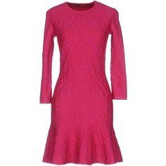 Alexander Mcqueen Short Dress ($1,160) ❤ liked on Polyvore featuring dresses, garnet, short dresses, long sleeve mini dress, short pink dress, trapeze dress and mini dress