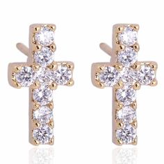 5mm 18K Gold Plated Fashion Shining Cross Shaped Inlaid Zircon Ladies Copper Earrings