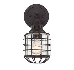 "Savoy House ""Connell"" 1 Light Sconce.  Get cagey with the Savoy House Connell collection, designed by Brian Thomas! Great industrial style comes courtesy of the cages protecting each shade of clear seeded glass and the sleek arms are finished in bold English bronze."