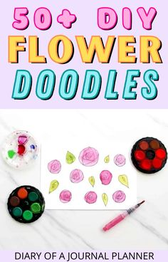 Looking to make your bullet journal pages pretty? Try out these 50+ stunning bullet journal flower doodles! #flower #bulletjournaldoodles #doodles Easy Flower Drawings, Flower Drawing Tutorials, Easy Doodles Drawings, Easy Doodle Art, Drawing Flowers, Simple Doodles, Bullet Journal Mood, Bullet Journal Themes, Bullet Journal Layout