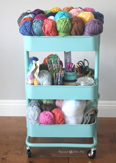 Portable organization with the Ikea RASKOG Crochet Cart! Check out how Repeat Crafter Me keeps her projects neat and tidy!