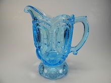 L E Smith colonial blue moon and star creamer pitcher Glass Pitchers, Love Blue, Star Patterns, Antique Glass, Blue Moon, Stars And Moon, Depression, Glass Art, Give It To Me