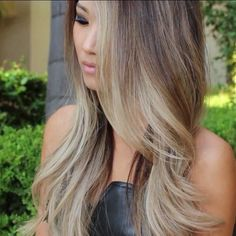 Ash blonde ombre and highlights - I love the face framing light highlights