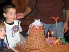Picture of Pretty Easy Erupting Volcano Birthday Cake (Using Dry Ice)