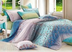 US$98.99 Pretty Floral and Colorful Stripe 4 Piece Cotton Bedding Sets. #Modern #Bedding #Colorful #Pretty